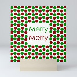Merry Merry with Red and Green Dots Mini Art Print
