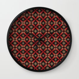 Textured Black Red and Gold Abstract Multi-Tile Print Wall Clock