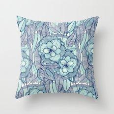 Teal Magnolias - a hand drawn pattern Throw Pillow