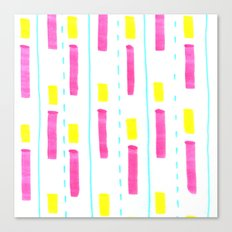 Pink and Lemon Stripes  Canvas Print