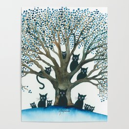 Lombardy Whimsical Cats in Tree Poster