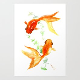 Goldfish, Feng Shui Asian Watercolor Art Print