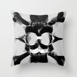 psychedelic skull art geometric triangle pattern abstract in black and white Throw Pillow