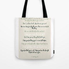 For what it's worth by F Scott Fitzgerald 2 #minimalism #poem Tote Bag