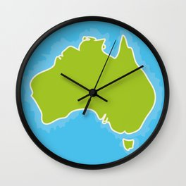 map of Australia Continent and blue Indian Ocean. Vector illustration Wall Clock