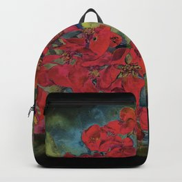 The flowering quince . Black background Backpack