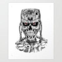 terminator Art Prints featuring Terminator by NickHarriganArtwork