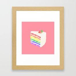 Watercolor Rainbow Cake Framed Art Print