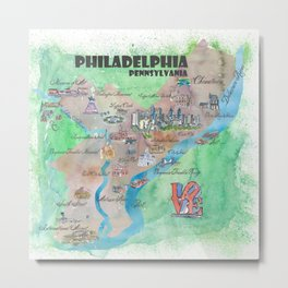 Philadelphia Pennsylvania Fine Art Print Retro Vintage Map with Touristic Highlights Metal Print