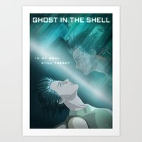 ghost in the shell Art Prints featuring Ghost in the Shell, fan poster by XDimov