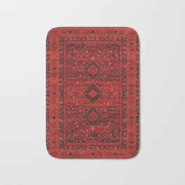Red Traditional Oriental Moroccan & Ottoman Style Artwork. Bath Mat