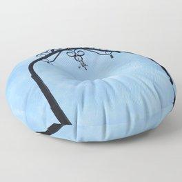 Cloud and Sky with padlock Floor Pillow