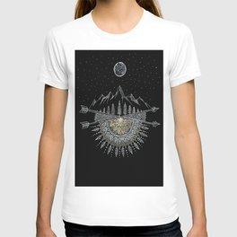 Moon and Stars Night Sky Mountain Range Arrow Mandala T-shirt