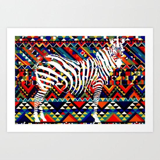 Tribal Zebra Art Print