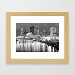 Columbus Downtown Skyline at Night - Ohio - Black and White Framed Art Print
