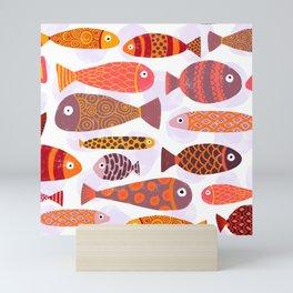 School of tropical fish pattern Mini Art Print
