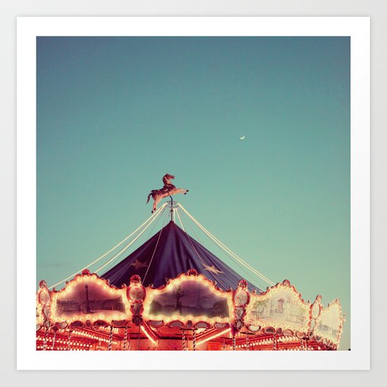 Crescent Moon Over Paris #2 Art Print