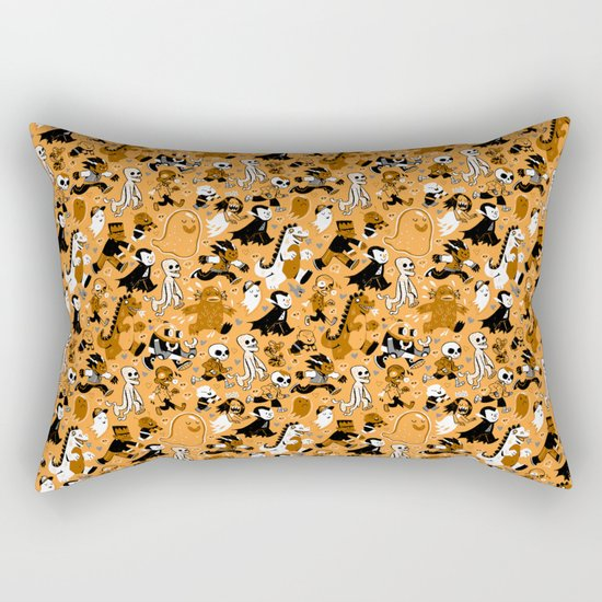 Monster March (Orange) Rectangular Pillow