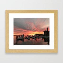 Sunset over the docks Framed Art Print