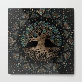 Tree of life -Yggdrasil Golden and Marble ornament Metal Print