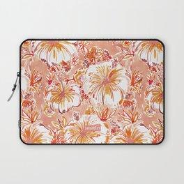 KOMBUCHA-CHA Orange Tropical Hibiscus Floral Laptop Sleeve