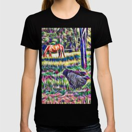 horses and hens in a field T-shirt