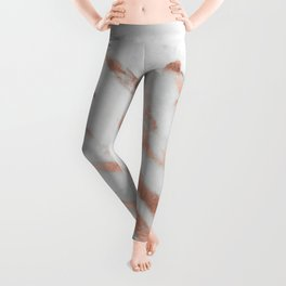 Marble - Rose Gold Marble with White Gold Foil Pattern Leggings