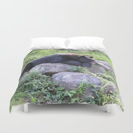 Contemplative Black Bear Duvet Cover