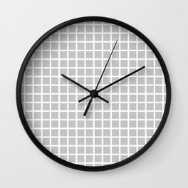 Grid (White & Gray Pattern) Wall Clock