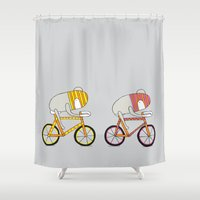 bikes Shower Curtains featuring Ride more bikes by EGGPICNIC