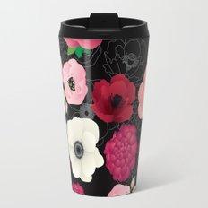 Black & Pink Flowers Midnight Travel Mug