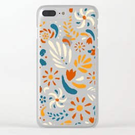 A Field of Chalk Flowers Clear iPhone Case