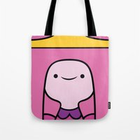 princess bubblegum Tote Bags featuring Princess Bubblegum by OverClocked