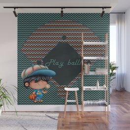 Chevron Baseball Boy Wall Mural