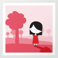 polkadot Art Prints featuring Polkadot Dress by ankepankedesign