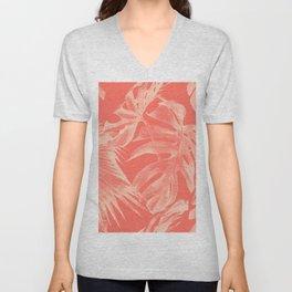 Living Coral Tropical Palm Leaves Monstera Unisex V-Neck