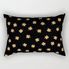 Golden shamrocks Black Background Rectangular Pillow