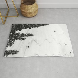 Backcountry Skier // Fresh Powder Snow Mountain Ski Landscape Black and White Photography Vibes Rug