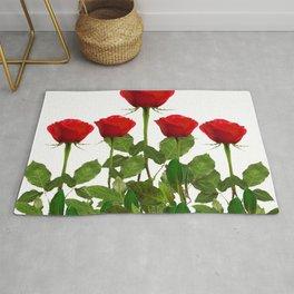 ORIGINAL GARDEN DESIGN OF RED ROSES ON WHITE Rug