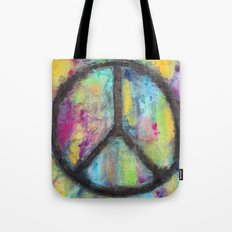 Tie Dye Peace Sign - Colorful Painting - Fluid Art Tote Bag