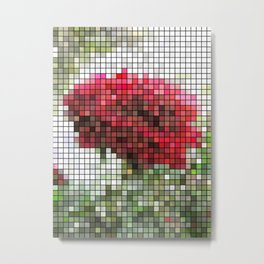 Red Rose with Light 1 Mosaic Metal Print