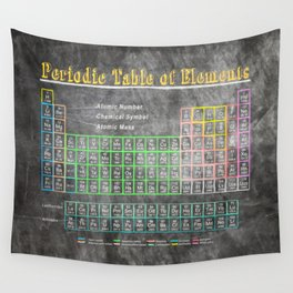 Old School Periodic Table Of Elements - Chalkboard Style Wall Tapestry