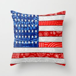 Retro American Flag Throw Pillow