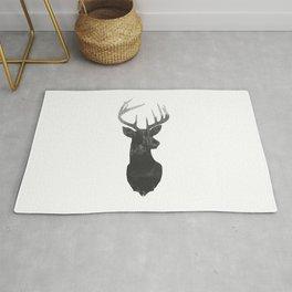 Deer Head With Trendy Double Exposure Silhouette Rug