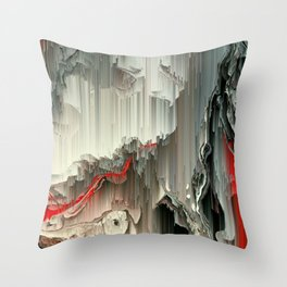 Digital Art Fluid Acrylic Painting Black, Silver, Red Waterfall Throw Pillow