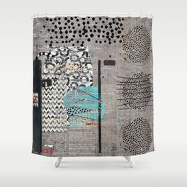 Grey Teal Abstract Art  Shower Curtain