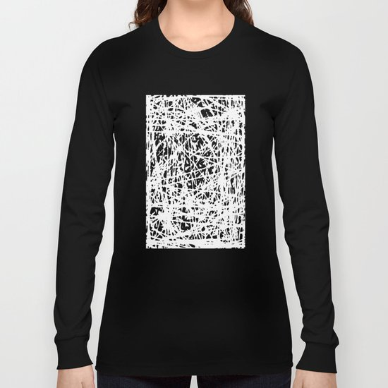 Whispers In the Dark - Black and White Abstract Long Sleeve T-shirt