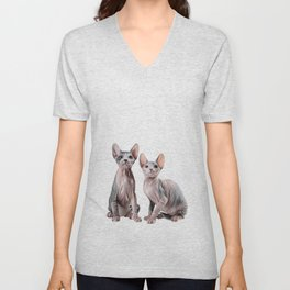 Drawing two cats Sphynx, hairless Unisex V-Neck