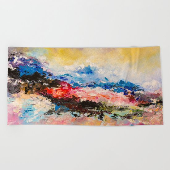 Dreaming volcano Beach Towel