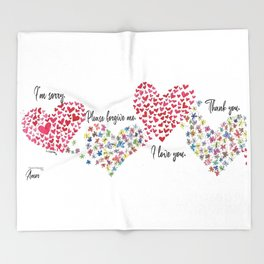 The Hearts and The Butterflies Throw Blanket